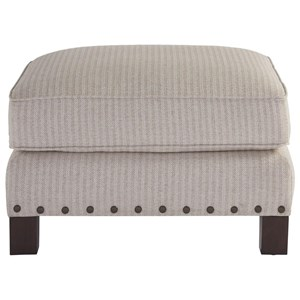 Transitional Ottoman with Nailheads