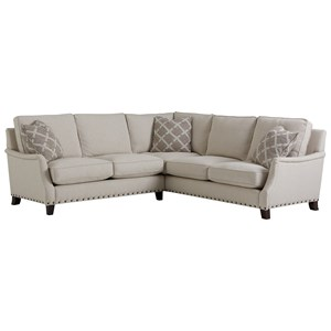 Transitional Sectional with Nail Head Trim