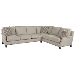 Transitional Two Piece Sectional with Right Arm Corner