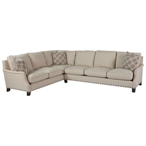 Transitional Two Piece Sectional with Left Arm Corner