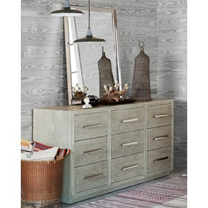 Contemporary 9 Drawer Dresser and Stainless Steel Mirror Combo