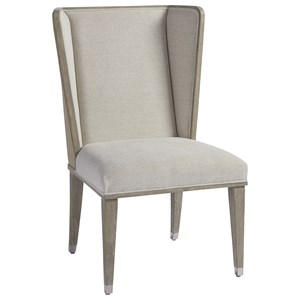 Host and Hostess Chair with Faux Leather Putty Outside Back