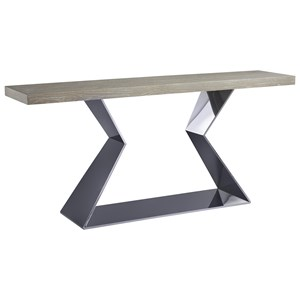Eloquence Console Table with Polished Stainless Steel Base