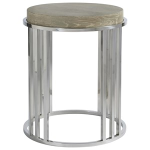 Round End Table with Stainless Steel Base
