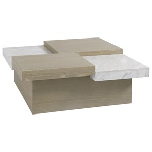 Mesa Cocktail Table with Stone and Wood Top