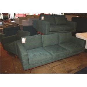 Mid Century Exposed Wood Loveseat with Memory Foam Seat
