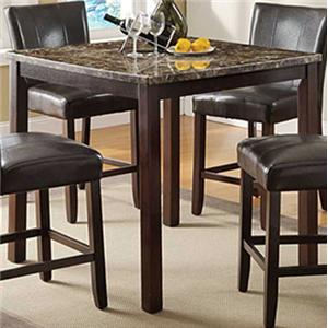 """Transitional Counter Height 40"""" Table with Faux Marble Top"""