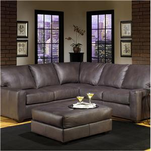 Transitional Four Seater Sectional Sofa with Track Arms and Exposed Wood Legs