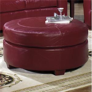 USA Premium Leather 2950 Round Ottoman