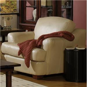 Transitional Leather Upholstered Chair with Flair-Tapered Arms