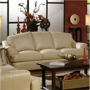 Transitional Leather Sofa with Flair-Tapered Arms