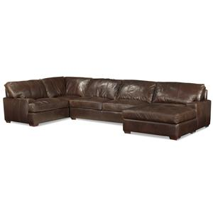 Track Arm Sofa Chaise Sectional w/ Block Feet
