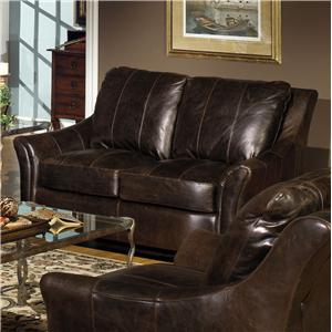 Contemporary Leather Loveseat with Flair Tapered Arms