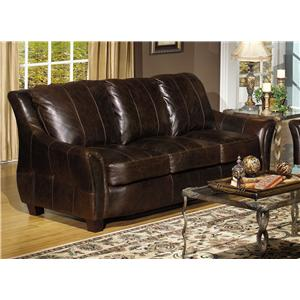 Contemporary Leather Sofa with Flair Tapered Arms
