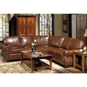 Leather Sectional Sofa with Decorative Nailhead Trim
