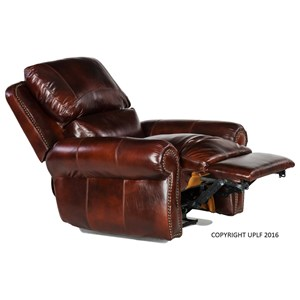 Traditional Leather Rocking Recliner with Nailheads