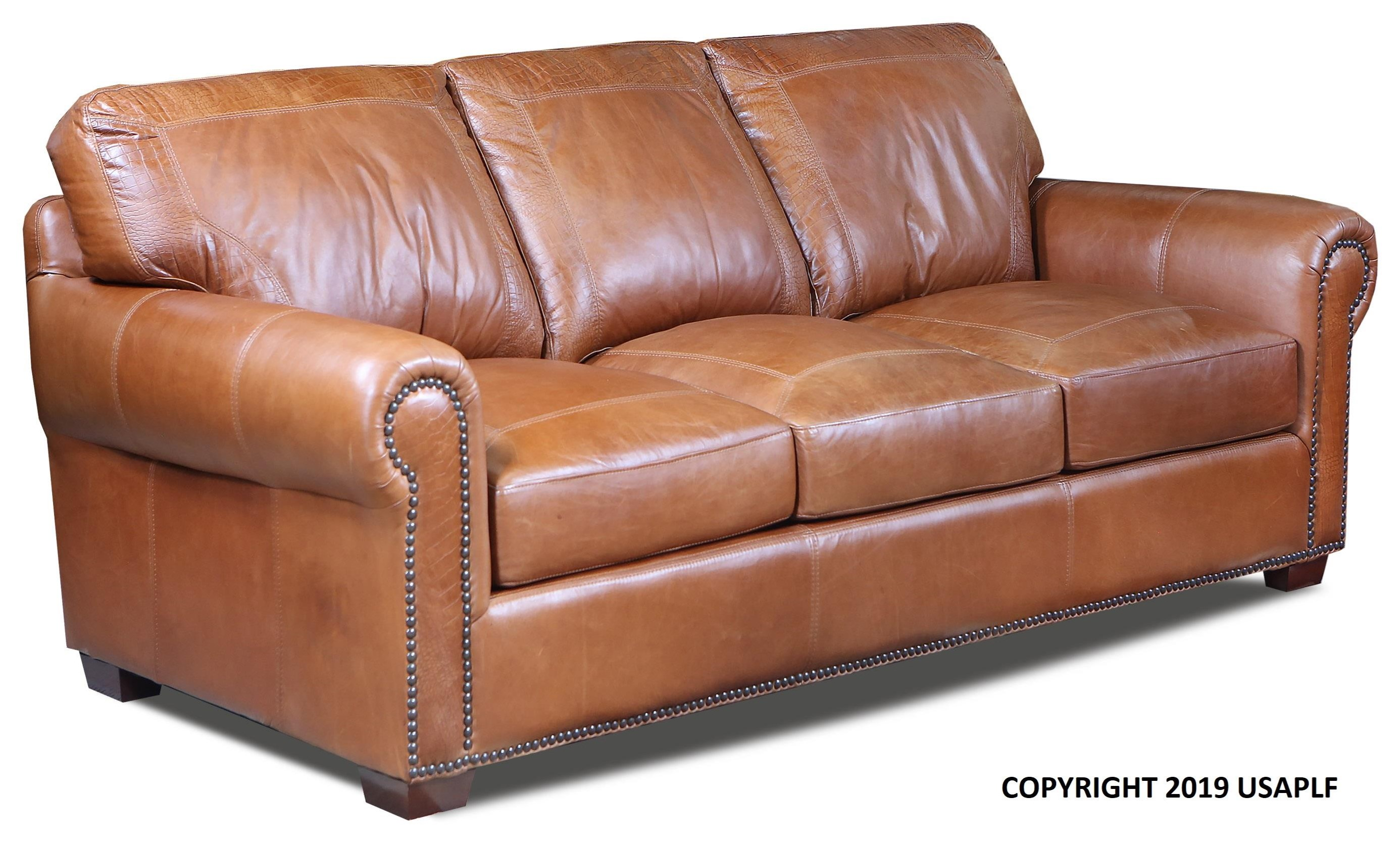 4955 Stationary Sofa by USA Premium Leather at Godby Home Furnishings