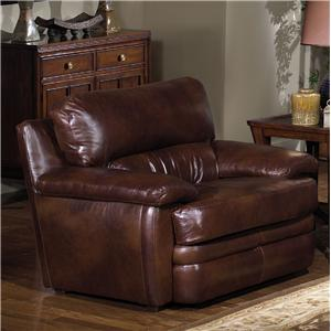 Upholstered Leather Chair with Pillow Arms