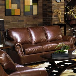 Traditional Leather Sofa with Rolled Arms