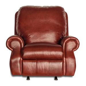 Leather Rocker Recliner with Rolled Arms