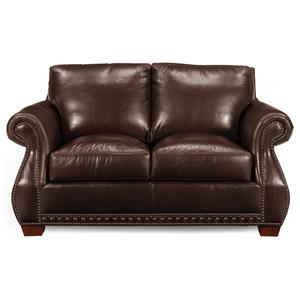 Traditional Stationary Loveseat with Nailhead Trim