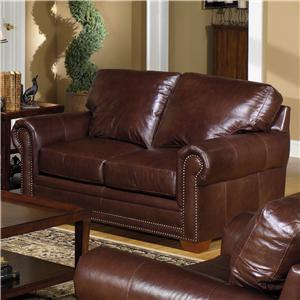 Traditional Leather Stationary Loveseat with Nailhead Trim
