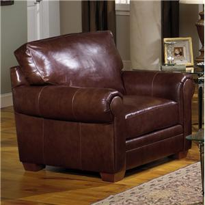 Leather Stationary Chair with Rolled Arms