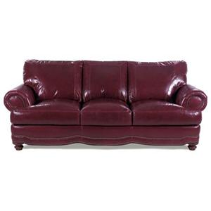 Leather Sofa with Rolled Arms