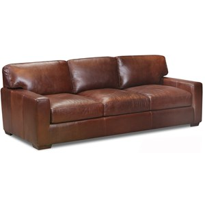 Top Grain Leather Sofa with Track Arms