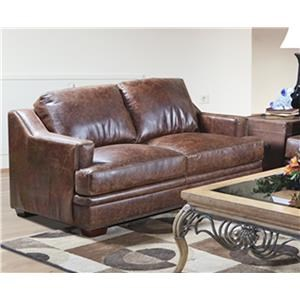 Ancient Brown Leather Loveseat