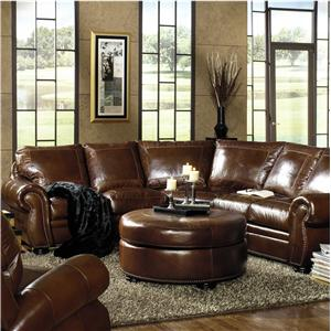 Traditional Sectional with Paisley Embossed Leather and Nailhead Trim