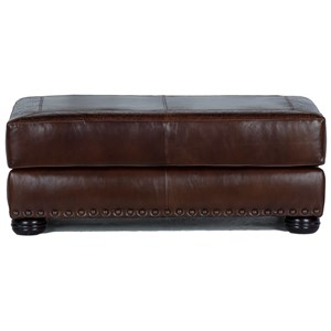 Leather Cocktail Ottoman with Large Nailheads