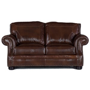 Traditional Leather Loveseat with Nailheads