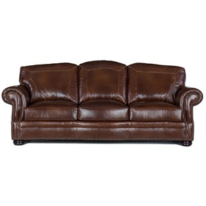 Traditional Leather Sofa with Nailheads