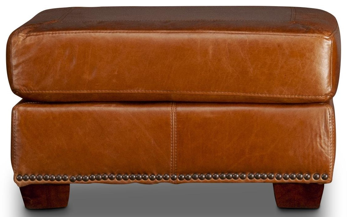 Carrick Carrick Leather Ottoman by USA Premium Leather at Morris Home