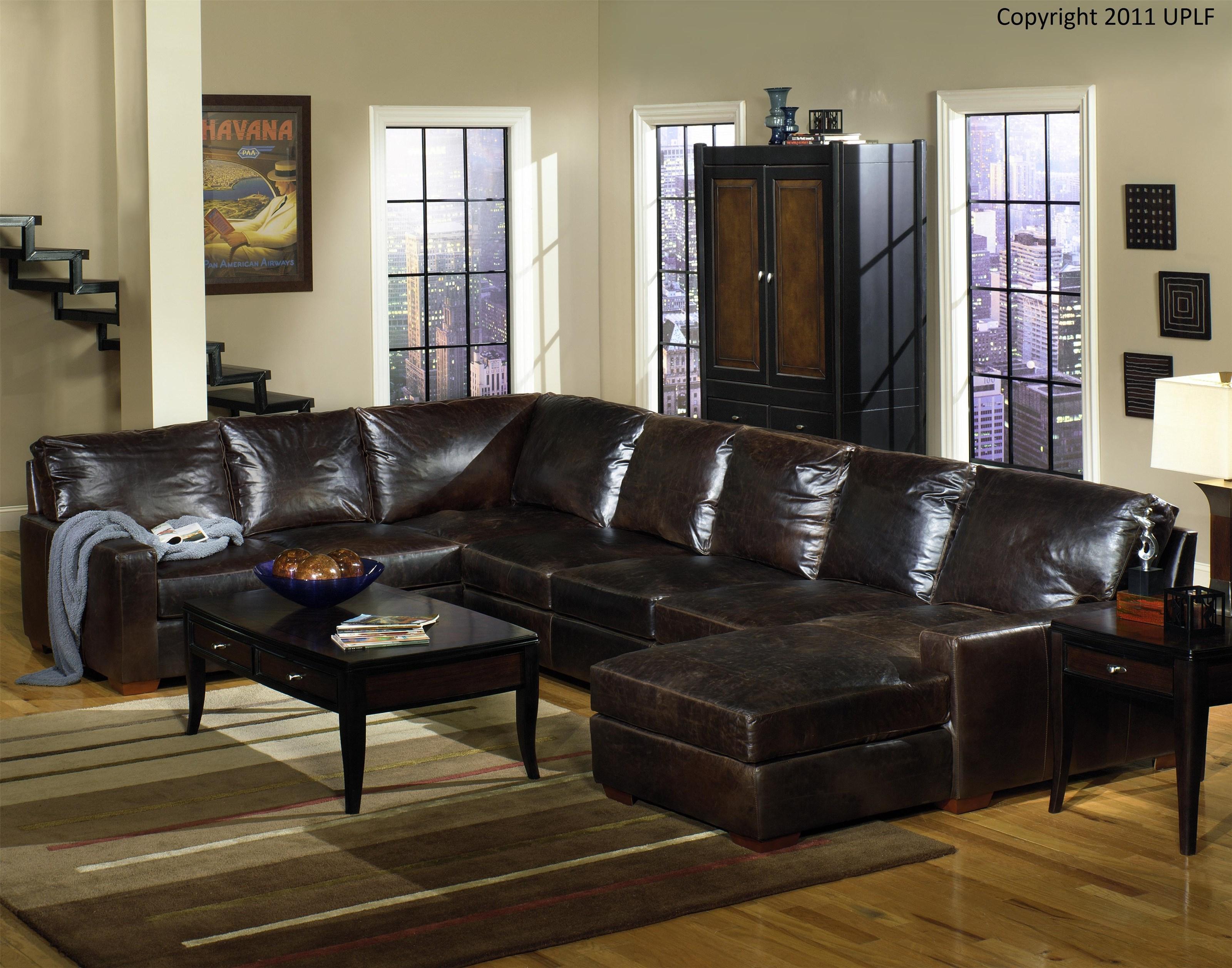 Frasier Fraiser Full Grain Leather Sectional Sofa by USA Premium Leather at Morris Home