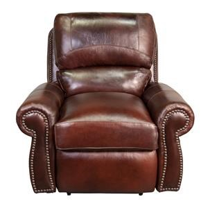 100% Top Grain Leather Power Recliner with Nailhead Trim