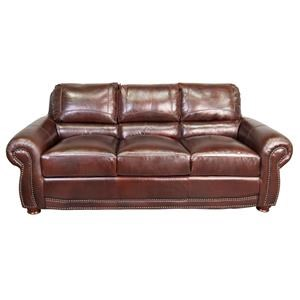 100% Top Grain Leather Sofa with Nailhead Trim