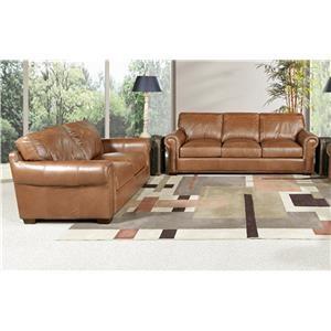 Saddle Leather Sofa and Leather Loveseat Set