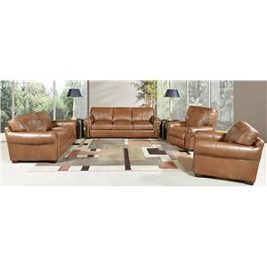 Saddle Leather Sofa, Leather Loveseat and Leather Chair Set