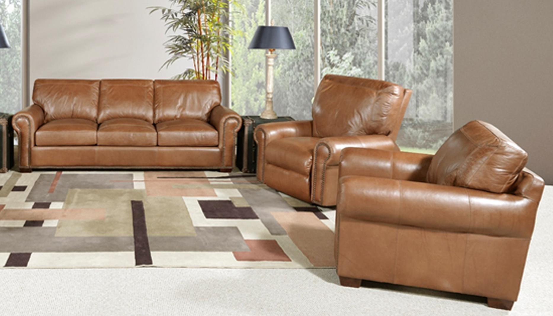 Saddle Gator Sofa and Chair Set by USA Premium Leather at Sam Levitz Outlet