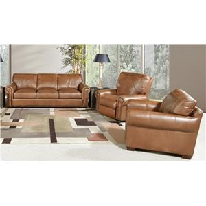 Saddle Leather Sofa and Leather Chair Set