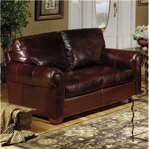 Casual Leather Stationary Loveseat