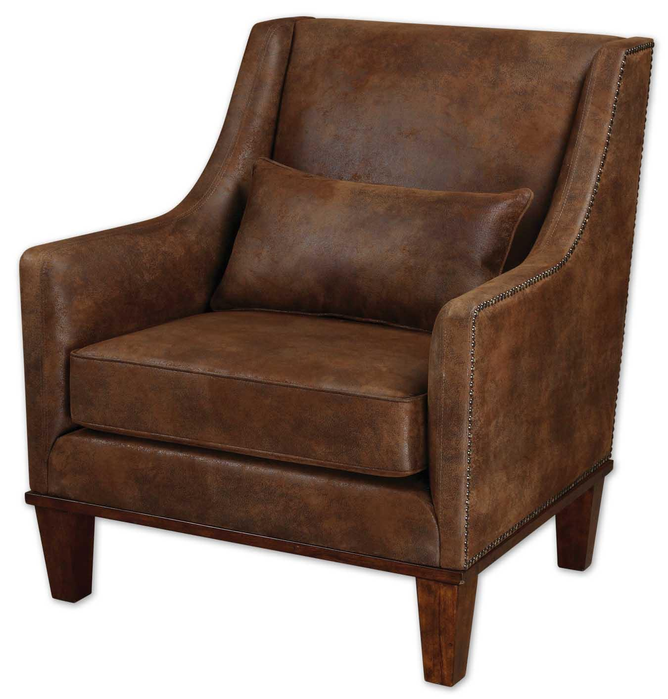 Accent Furniture - Accent Chairs Clay Armchair by Uttermost at Goffena Furniture & Mattress Center