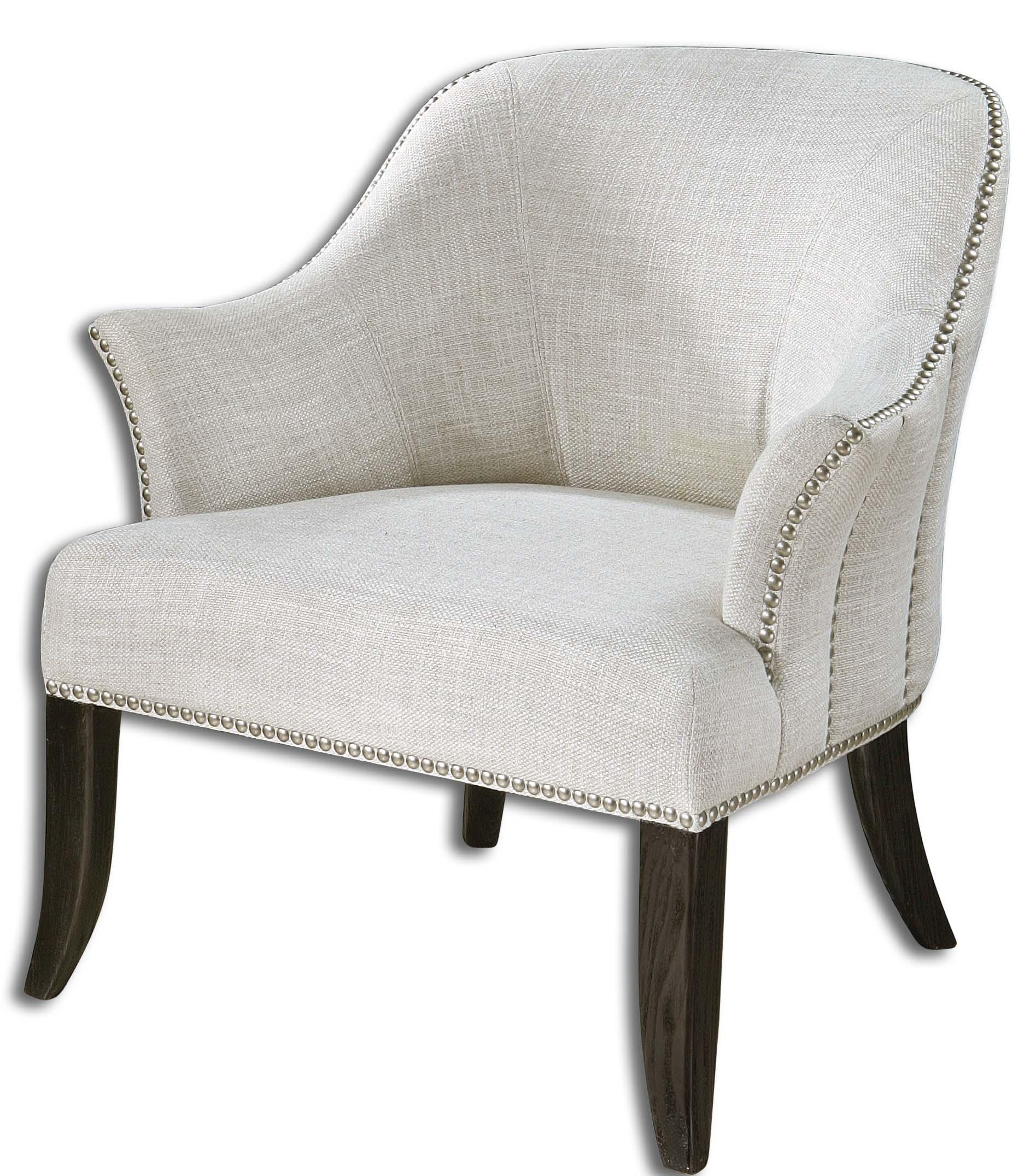 Accent Furniture - Accent Chairs Leisa White ArmChair by Uttermost at Goffena Furniture & Mattress Center