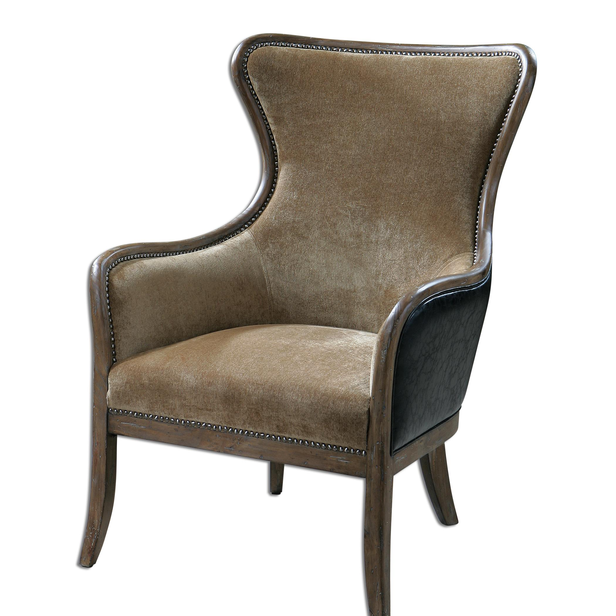 Accent Furniture - Accent Chairs Snowden Tan Wing Chair by Uttermost at Mueller Furniture