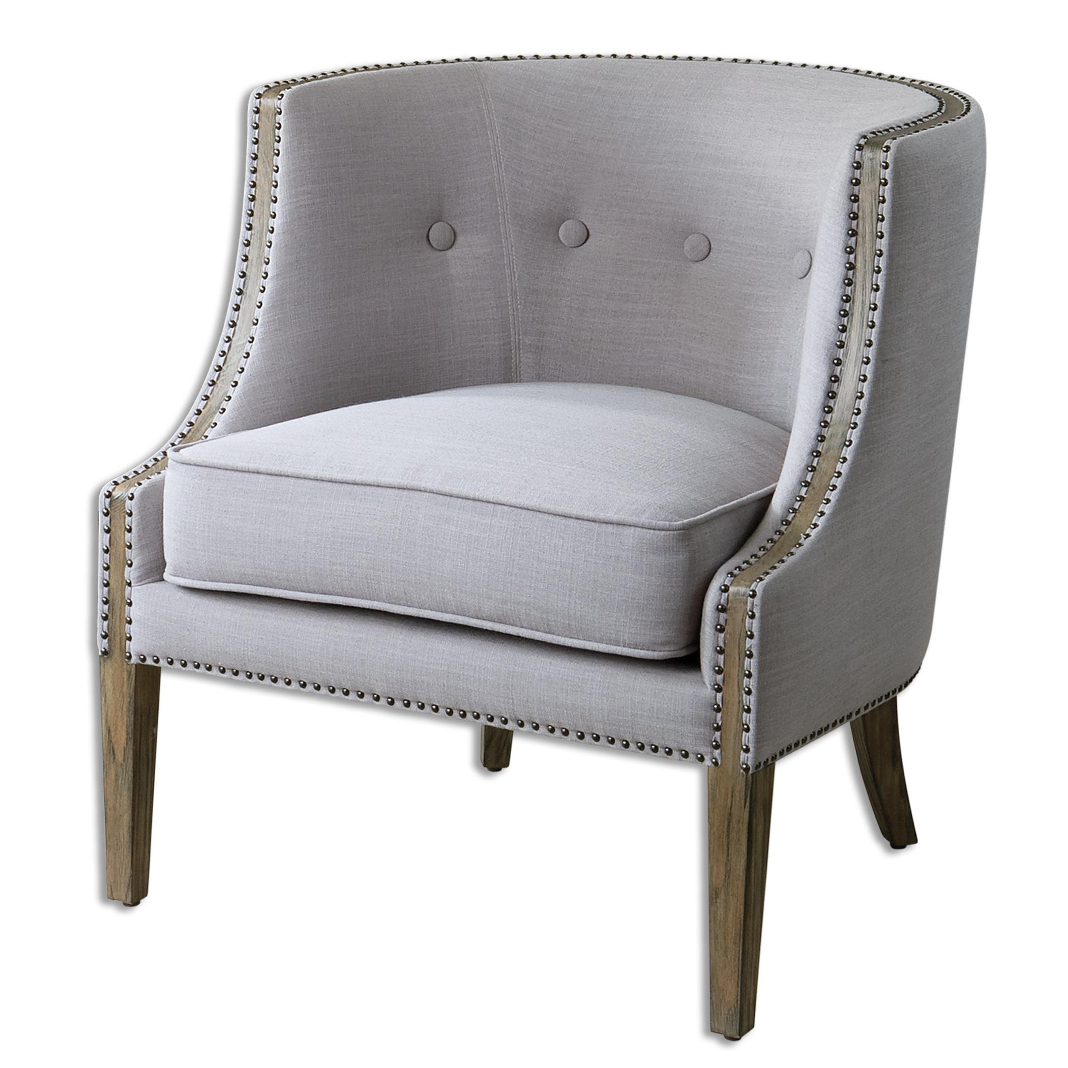 Accent Furniture - Accent Chairs Gamila Light Gray Accent Chair by Uttermost at Factory Direct Furniture
