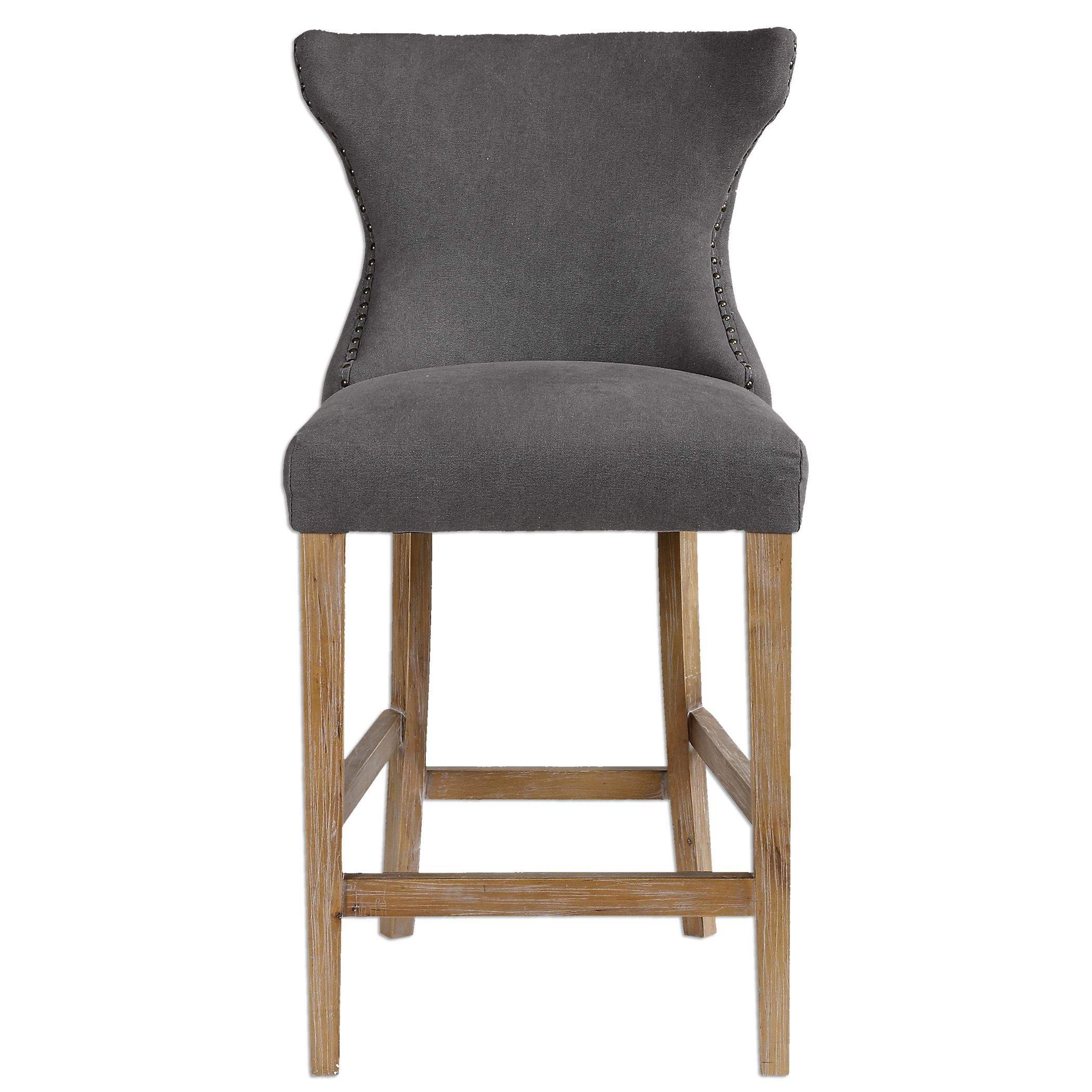 Accent Furniture - Stools Gamlin Gray Counter Stool by Uttermost at Del Sol Furniture