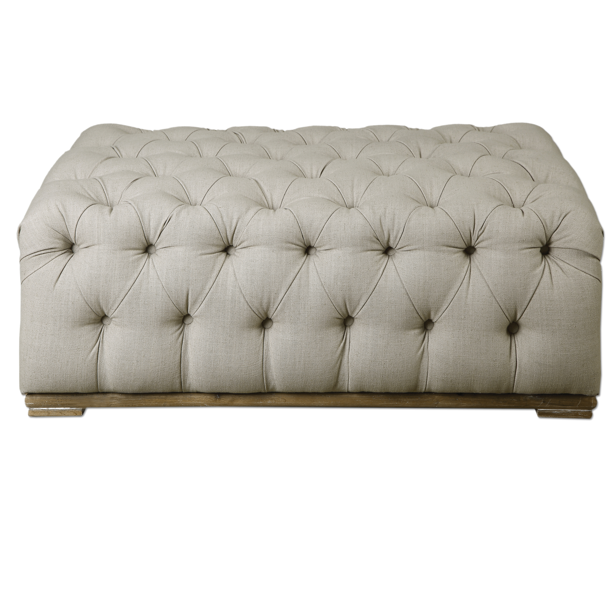 Accent Furniture - Ottomans Kaniel Tufted Antique White Ottoman by Uttermost at Factory Direct Furniture