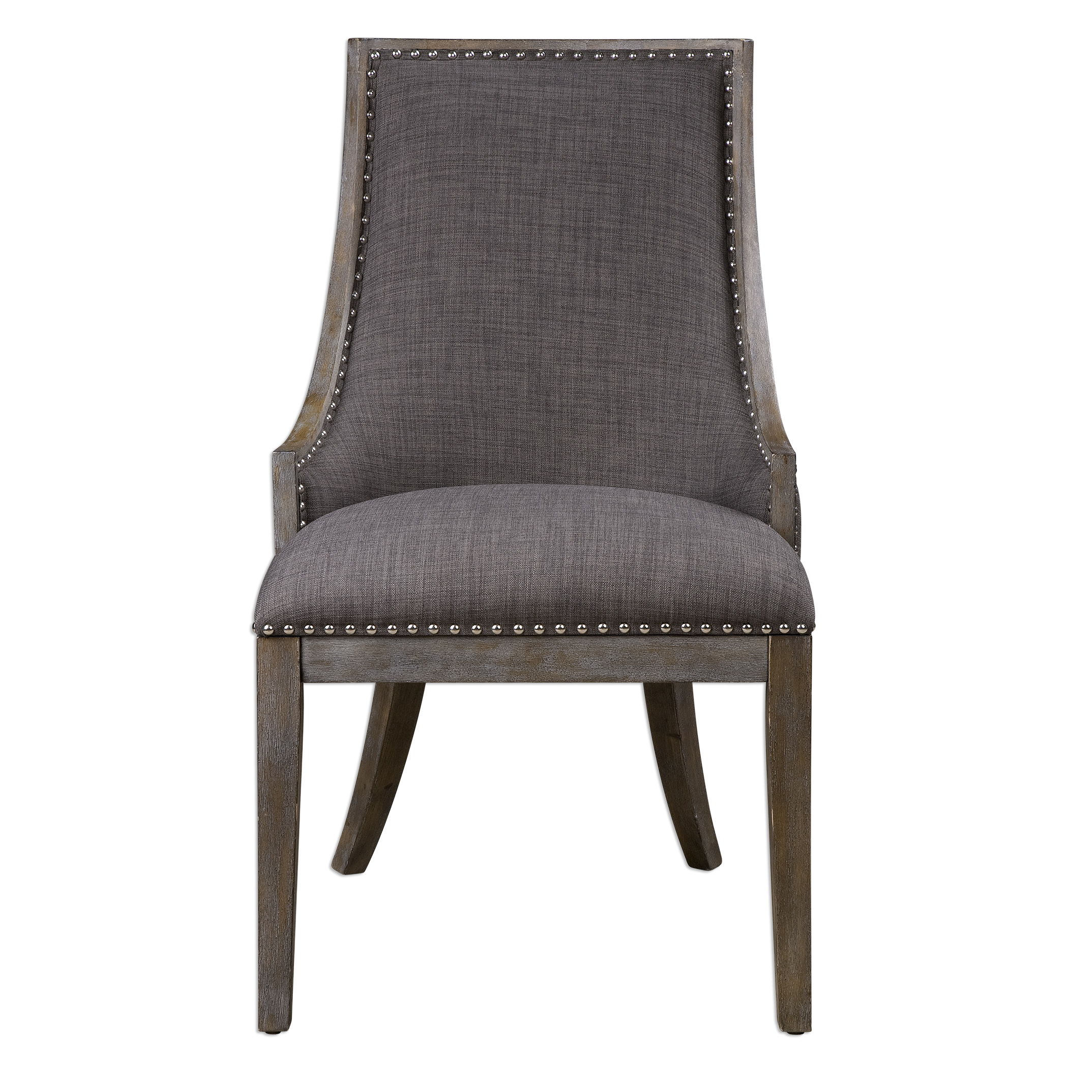 Accent Furniture - Accent Chairs Aidrian Charcoal Gray Accent Chair by Uttermost at Dunk & Bright Furniture